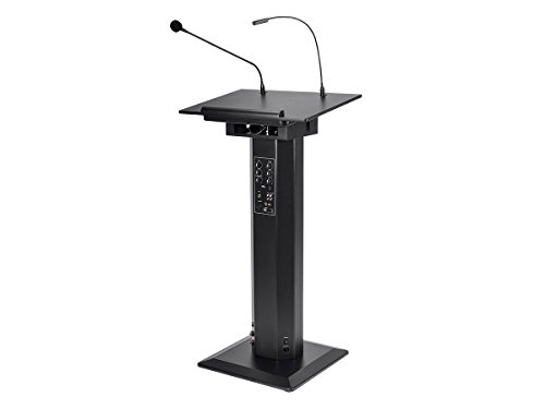 Speaker Lectern Stand (Monoprice Commercial Audio 60W Powered Lectern with Gooseneck Microphone and LED Light (No Logo))