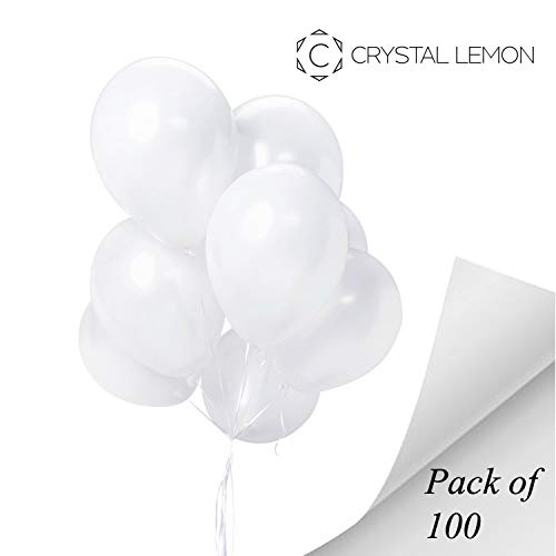 Pack of 100, 12 inches Party Balloons, Balloons Bulk, Balloons for Birthdays (White)