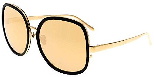 Lunettes de Soleil Linda Farrow LINDA FARROW 444 BLACK ALUMINIUM YELLOW GOLD BLACK ALUMINIUM YELLOW GOLD/GOLD MIRROR femme