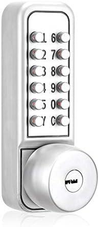 デジタルパスワードドアロックメカニカルコードキーレスドアロック防水3世代パスワード+キー電子ロック-シルバー
