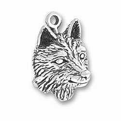 's Head Charm with Split Ring #3811 (Sterling Silver Wolf Head Charm)