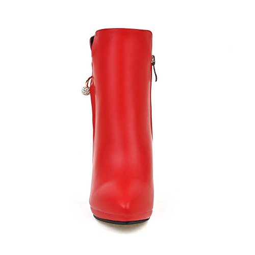 Fashion Womens Grommets AdeeSu Red Urethane SXC02283 Toe Boots Platform Pointed q4PPwB5T
