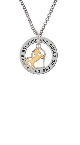 - Two Tone Stallion Silhouette Heart - She Believed She Could Affirmation Ring Necklace