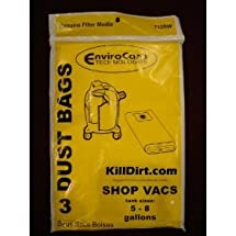 SHOP VAC Paper Bags-3PK-Fits All Tank Sizes 5-8 GALLON REPLACEMENT
