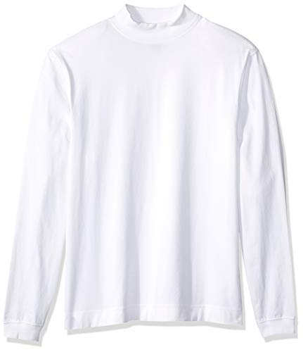 (D & Jones Men's Sueded Cotton Jersey Mock Turtleneck, White, XL)