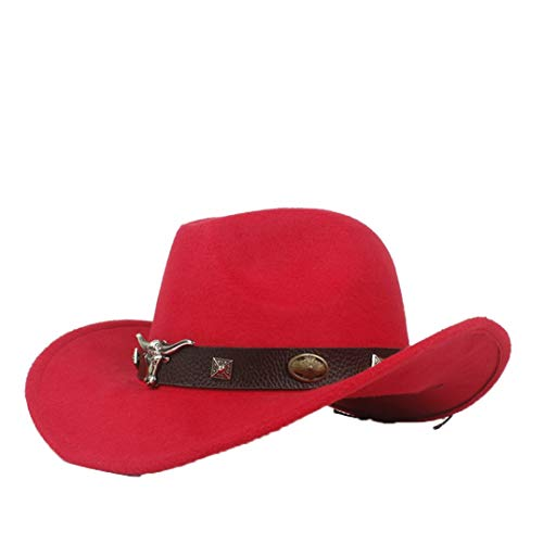 ASO-SLING Felt Wide Brim Western Cowboy Hat Fedora Cattleman Hat with Leather Belt Bull Skull Red