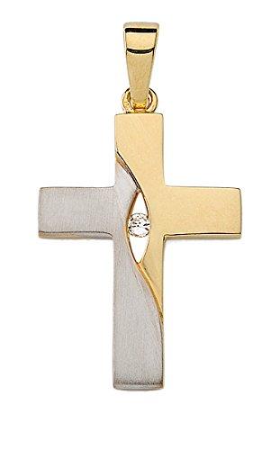 Silber Kreuz Anhänger 925 Sterling Silber mit Zirkonia 1001 JEWELS MAX_KR126707