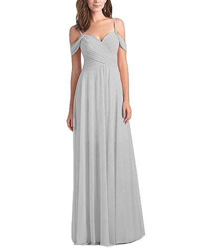 - WuliDress Women's Pleated Chiffon A Line Bridesmaid Dress Long Off The Shoulder Prom Party Formal Ball Gown Silver Size 16