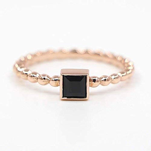 Onyx Rings 14K Solid Gold Onyx Ring Square Onyx Ring Black Stone Beaded Ring Onyx Beaded Gold Ring