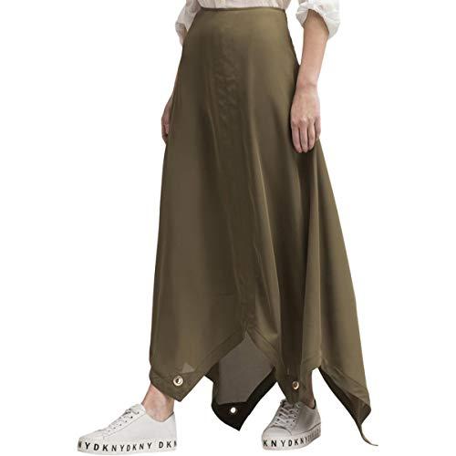 DKNY Womens Grommet Trim Asymmetric Maxi Skirt Green 8 Dkny Jeans Womens Skirt