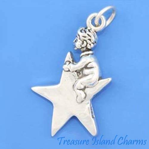 Twinkle Little Star with Child 3D - .925 Sterling Silver Charm Jewelry Making for Bracelet Pendant -