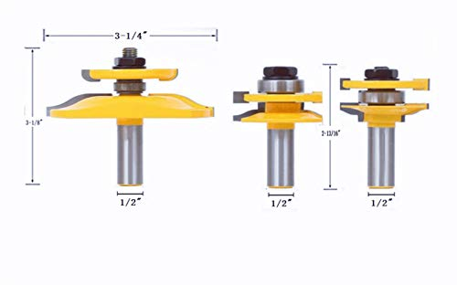 - DBoyun 3PCS 1/2'' Shank Ogee Rail & Stile Router Bit Cove Double-Side Raised Panel Tools Sets Kit Woodworking Chisel Cutter Tool Set