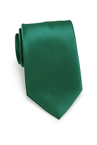 Bows-N-Ties Men's Necktie Solid Color Microfiber Satin Tie 3.25 Inches (Hunter Green)