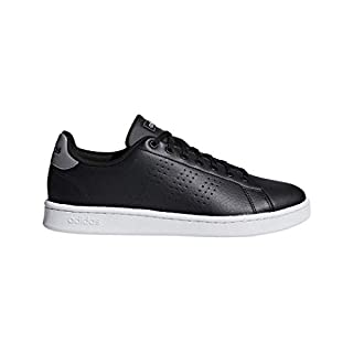 adidas Men's Advantage Tennis Shoe, Black/Black/Grey, 13 M US