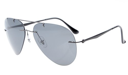 Eyekepper Titanium Pilot Style Rimless Polarized Sunglasses Grey Lens (Problems Wraparound Sunglasses Prescription)