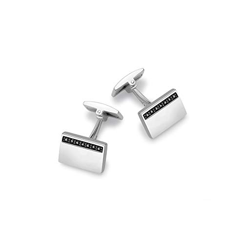 Hoxton London Sterling Silver Black Sapphire Set Rectangle Cufflinks