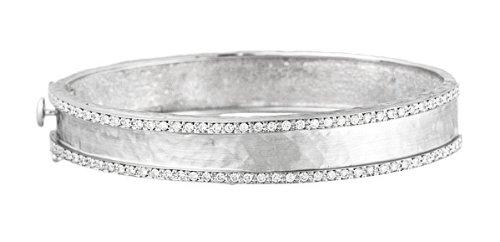 Or 18carats 1.12DWT Blanc Diamant Bracelet jonc martelé 11m finition Marteau