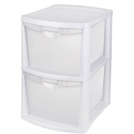 Sterilite Large 2 Deep Drawer Storage Bin with Handles, White (Storage Drawer Bin 2)