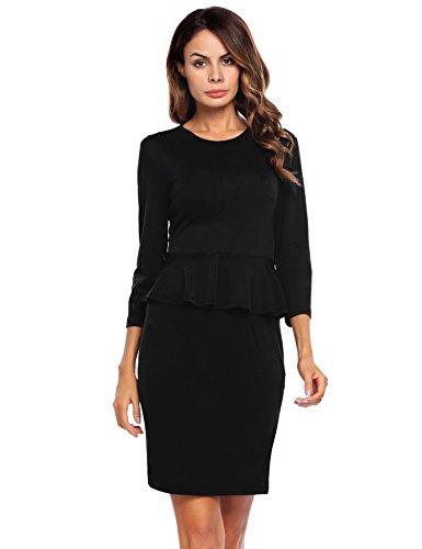 Zeagoo Women Wear to Work Knee Length Dress Office Work Sheath Dress with Sleeves Black/XXL