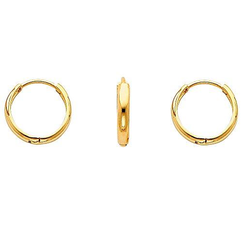 14k Yellow or White Gold 2mm Domed Hoop Huggies Earrings (0.5 or 13mm)