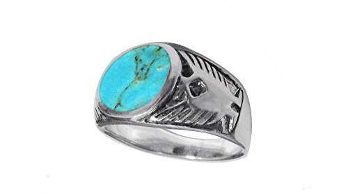 (Sterling Silver 11mm Genuine Round Turquoise Men's Ring (11))