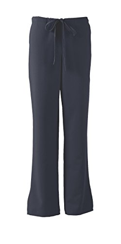 ave Women's Medical Scrub Pants, Melrose ave, Bootcut Style, Drawstring and Elastic Waist, Great for Nurses, Navy, Small Petite