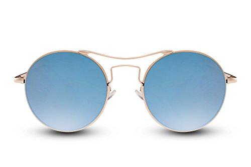 Léo Marron 018 Cheapass Ca Sunglasses Noir Miroitant Argenté Lunettes Rétro Rondes OOYnPTW