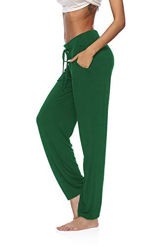 DIBAOLONG Womens Yoga Pants Wide Leg Comfy Drawstring Loose Straight Lounge Running Workout Legging Inkgreen M