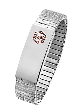 STEEL EXPANSION MEDICAL ID WRISTBAND (8.5) (Free Engraving & Sizing)