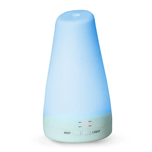 LUCOG 100ML Essential Oil Diffuser Humidifier - 7 Color LED Light, Timing & Automatic Shut-off for Bedroom / Nursery / Yoga / Baby Room (Oil Vaporizer Atomizer compare prices)