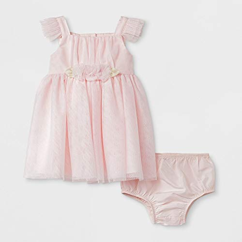 4673acae66797 mia & mimi Baby Girls' Ruffled Sleeve Dress - Blush 6-9 M