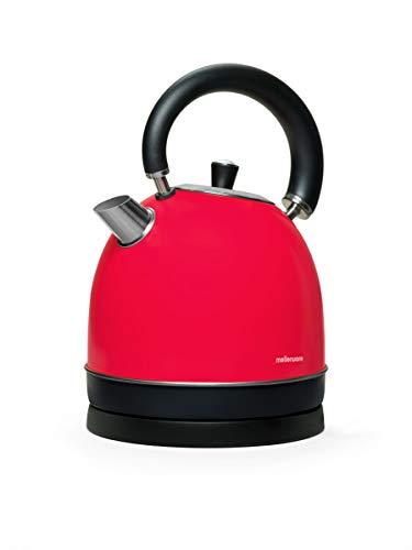 Mellerware Spring! Hervidor electrico Tipo Kettle 100ºC Temperatura de Trabajo 1,80 litros de Capacidad Indicador de Nivel de Agua Diseno Elegante Acero Inoxidable (Rojo)