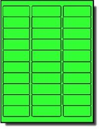 600 Label Outfitters® Neon Green Laser Labels, 2-5/8 x 1 inches, 20 Sheets, use Avery® 5160 Template
