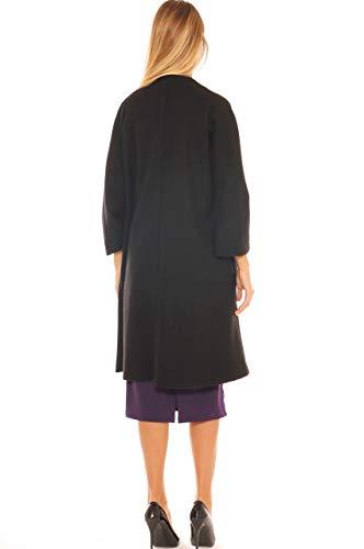 Stile Cintura Velour Key Donna Nero Vestaglia Con In di Cappotto wTZq8tS
