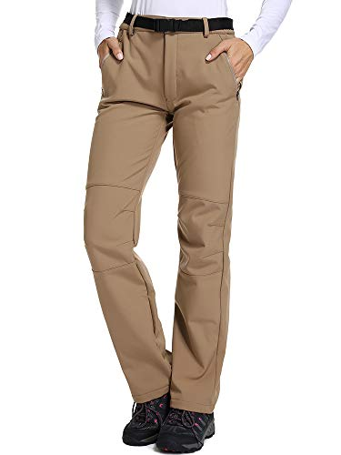 Lined Pants Womens (Women's Fleece-Lined Soft Shell Pants Insulated Water and Wind-Resistant-Khaki,US S)