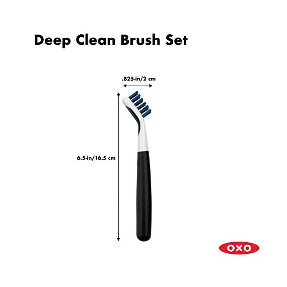OXO Good Grips Deep Clean Brush Set 5 Set includes: Large Brush and Small Brush with Wiper Blade Large Brush is great for grout, shower-door tracks, stove tops and more Small Brush is perfect for fixtures and other tight spaces
