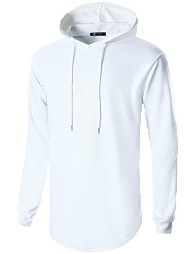 GIVON Mens Hipster Simple Longline Lightweight Pullover Long Sleeve Hooded Shirt/DCF022-WHITE-XL