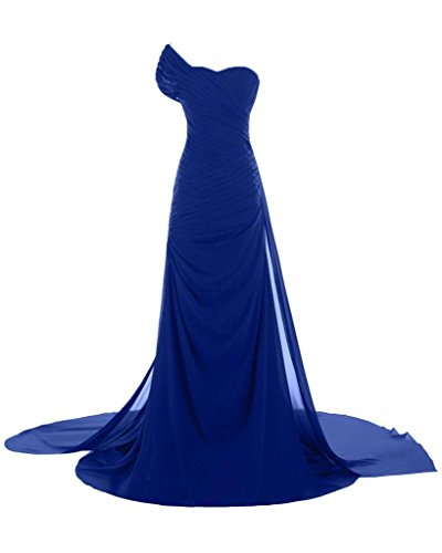 abiti of the lunga Blue in Fashion da Chiffon con spalla da