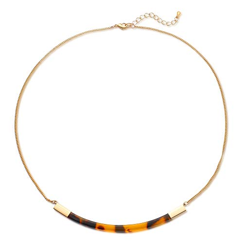 FAMARINE Tortoise Shell Collar Necklace, Tortoise Resin Curved Bar Pendant Thin Chain Necklace 17