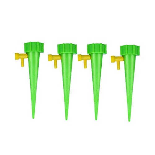 MODAO 4Pcs Plant Water Dispenser Automatic Watering Adjustable Drip Irrigation Device for Garden Plants, Hanging Baskets, washbasins, Hanging Plants, Small Trees, shrubs. (Green) (18' Planter Square)