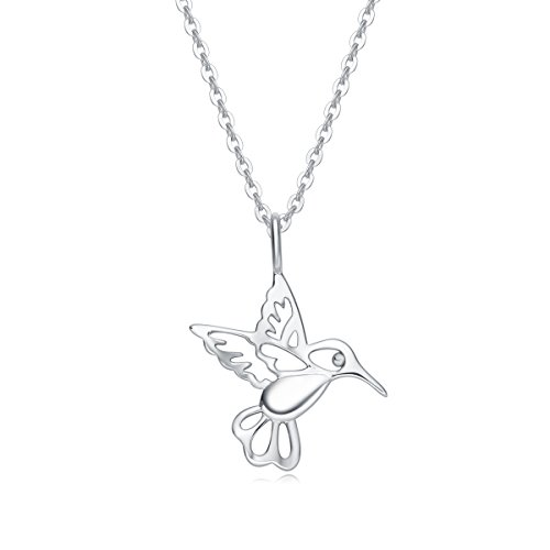 Carleen 14k Solid White Gold Statement Dainty Bird Necklace Delicate Fine Jewelry for Women Girls, 16