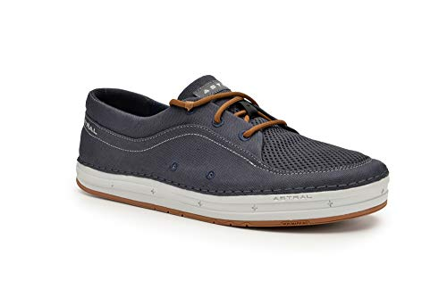 Canoe Moccasin - Astral Men's Porter Minimalist Boat Shoes, Grippy and Lightweight, Made for Water, Boat, Casual, and Travel, Navy/Gray, 7.5 M US