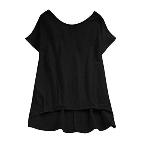 HTDBKDBK Blouse for Women Fashion Ladies Lady Linen Solid T-Shirt Casual Plain Loose Blouse Shirt Asymmetrical Tops