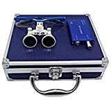 Hot Dental 3.5 x 420mm Working Distance Surgical Binocular Loupes Optical Glass with LED Head Light Lamp and Aluminum Box (blue)