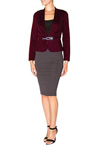 Sport Neon Night Sleeves (Buckle front Women's Wear to Work Knit Long Sleeve Blazer. Great for a night out (large, burgundy))