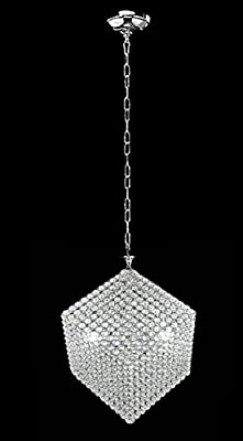 New Galaxy Lighting 3-light Chrome Finish Cube Metal Shade Crystal Chandelier Hanging Pendant Ceiling Lamp Fixture, #307