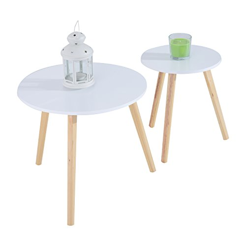 HomCom 2pc Round Accent Side Table Set (Expandable Round Dining Table For Sale)