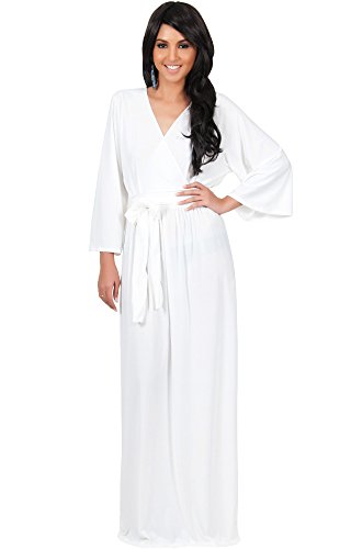 KOH KOH Womens Long Sleeve Kimono V-neck Wrap Solid Winter Fall Gown Maxi Dress