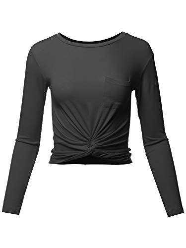 Made by Emma Casual Basic Solid Round Neck Front Knot Ties Long Sleeve Crop Top Black L