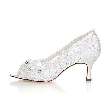 mujer Applique Stiletto talón de bomba básica satén 4U noche Toe boda de verano elásticos para Best Crystal zapatos boda fiesta KUKIE primavera beige Peep Zapatos ZY6HwInq